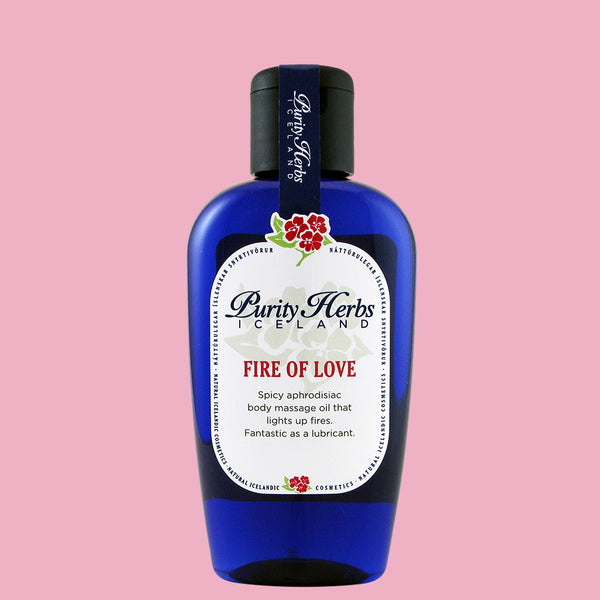 Fire of Love, spicy body massage oil for lovers. Affects both mind and body and can be used in the most intimate places. The ingredients have aphrodisiac effects.