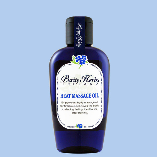 Heat Massage Oil, heating body massage oil for tired muscles. Ideal to use after training on tired limbs. Increases the blood circulation in the muscles. Used by massage parlors.