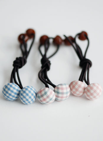 Gingham Button Hairties