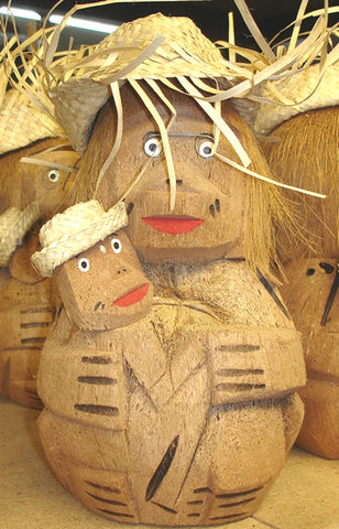 carved coconut mom with child