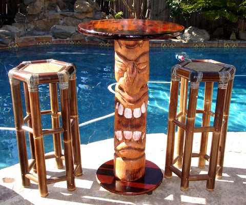 40 inch Lucky Statue Stained Tiki Pub Table