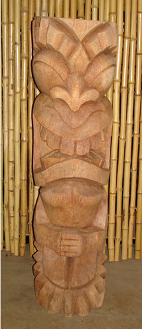 "40"" War God Tiki Statue Natural"