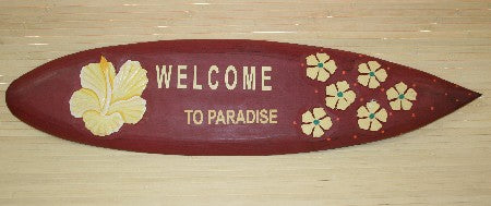 Welcome Flower Surf Tiki Sign