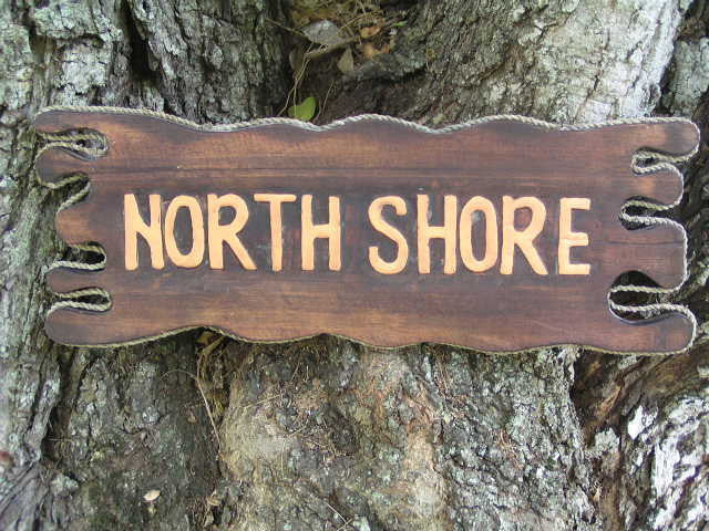 """NORTH SHORE"" SIGN DRIFT WOOD 20"" - TIKI BAR DECOR"