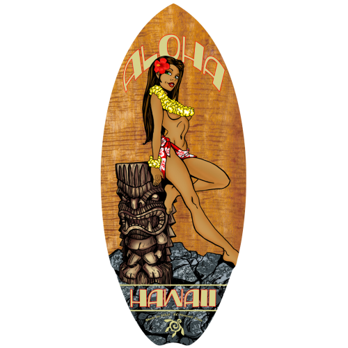 Tiki Hula Girl Mini Surfboard
