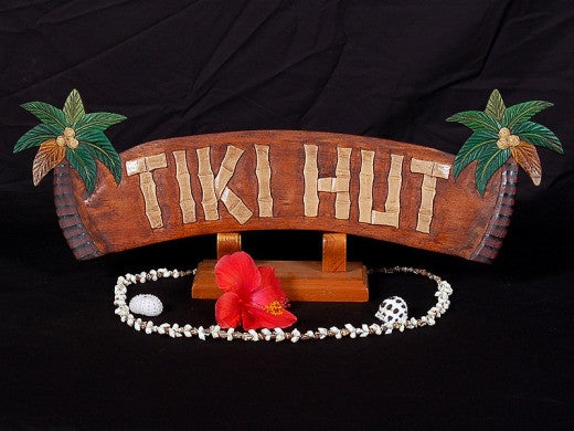 Welcome Tiki Hut Sign with Palm Trees - 12 inch