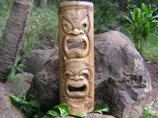 "DOUBLE HEADED TAHITIAN MASK 40"" - ACACIA WOOD"