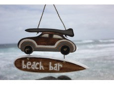"""Beach Bar"" Woody Car Sign - 14"" - Beach Decor"