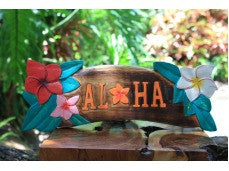 """Aloha"" Sign w/ Plumeria Flowers 16"" - Tiki Bar Decor"