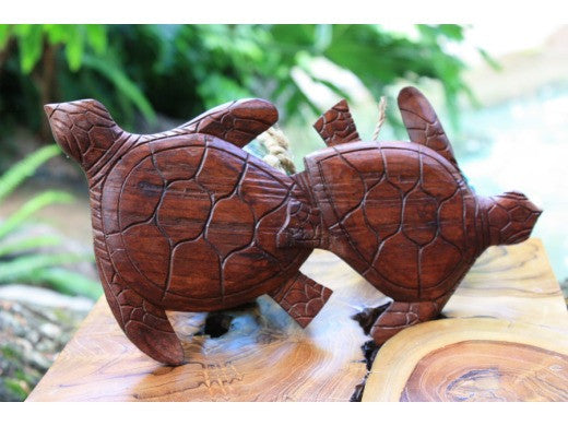 "Carved Turtles Wall Plaque 12"" X 6"""