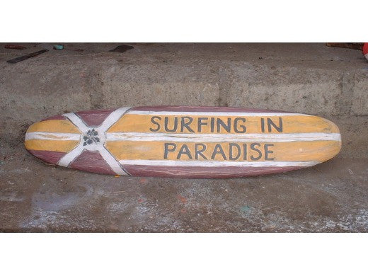 """SURFING IN PARADISE"" SURF SIGN 39"" - BEACH DECOR"