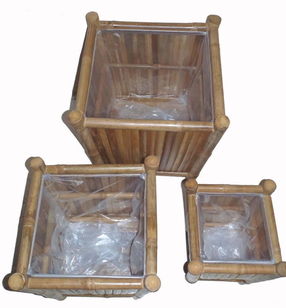 Set of 3 Bamboo Planters