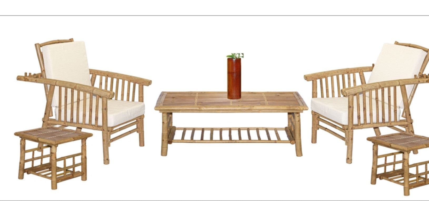 6 Piece Mikong Chair and coffee table set with vase