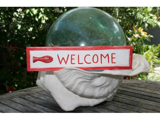"""WELCOME"" NAUTICAL SIGN 12"" RED - BEACH DECOR"