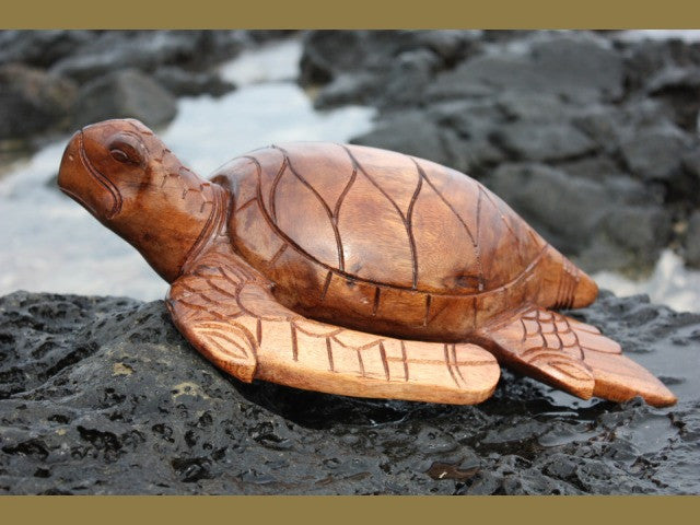 "Carved Hawaiian Turtle Honu 16"" Stained - Hand Carved"