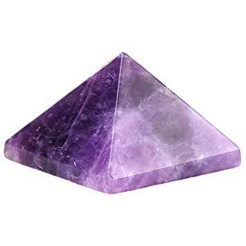 Natural Gemstone Hand Carved Metaphysical Healing Crystal Polished Pyramid Amethyst 25-30 MM