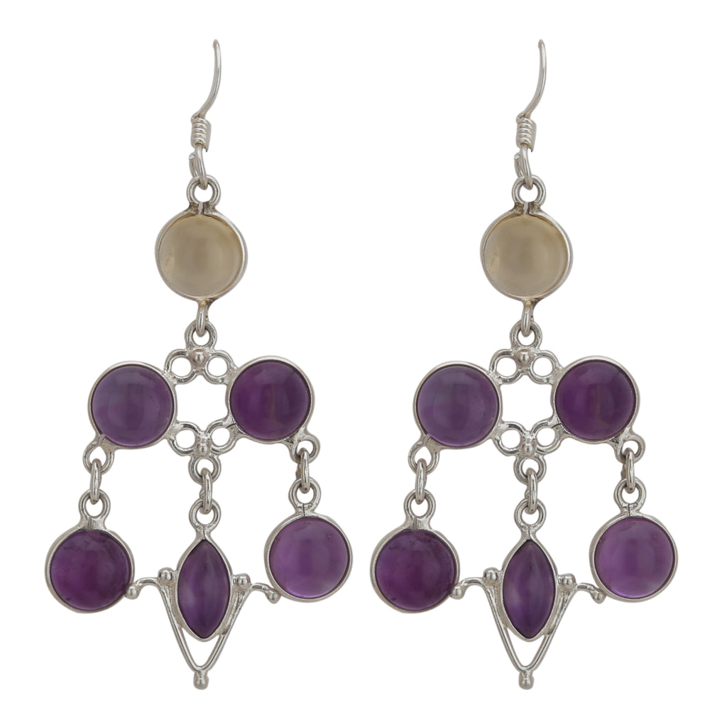 Amethyst With Citrine 925 Silver Earring