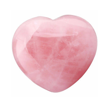Rose Quartz Crystal Puffy Heart for Chakra Energy Healing, Meditation and Massage Set of 2 Pieces