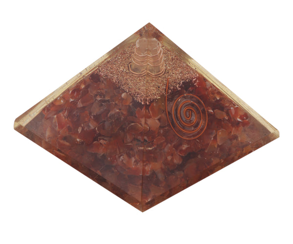 Carnelian Orgonite Pyramid Energy Generator for Healing and EMF protection Chakra Balancing 60-70 mm