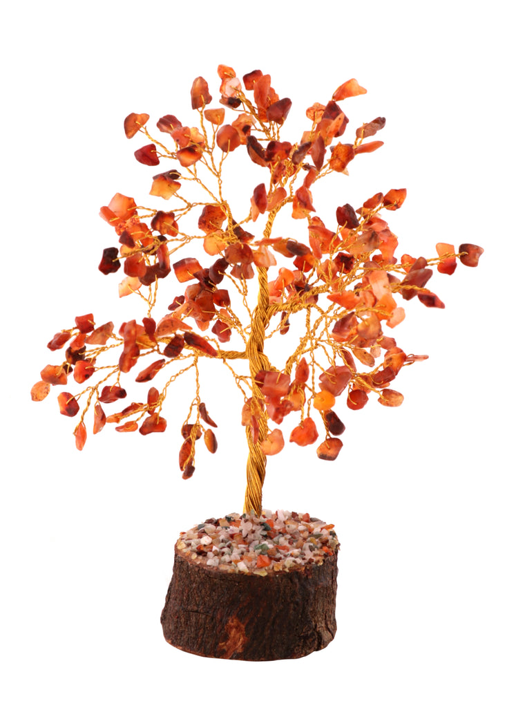 Healing Gemstone Crystal Bonsai Fortune Money Tree for Good Luck, Wealth & Prosperity Spiritual Gift Size 10-12 Inch Carnelian