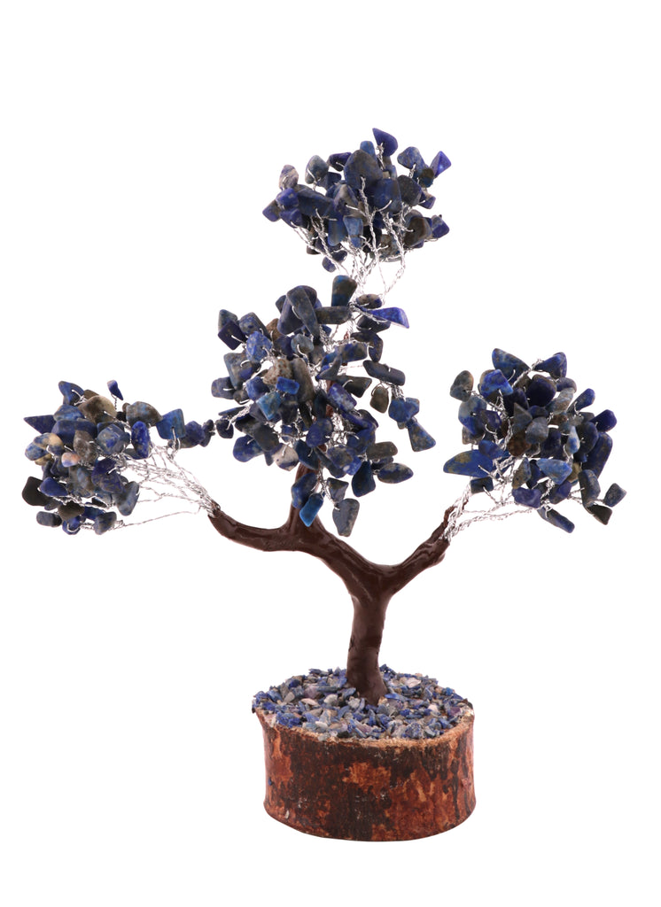 Healing Gemstone Crystal Bonsai Fortune Money Tree for Good Luck, Wealth & Prosperity Spiritual Gift Size 10-12 Inch Lapis Lazuli
