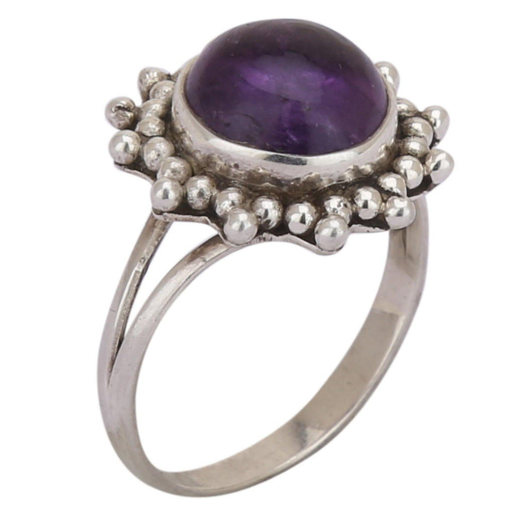 Amethyst Flower Shape 925 Silver Ring