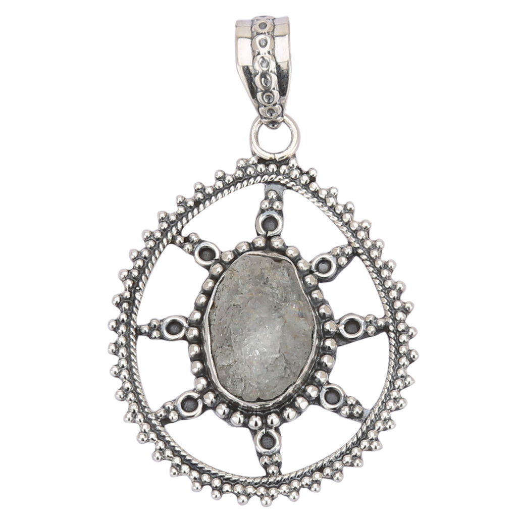 Raw Gemstone 925 Silver Pendant