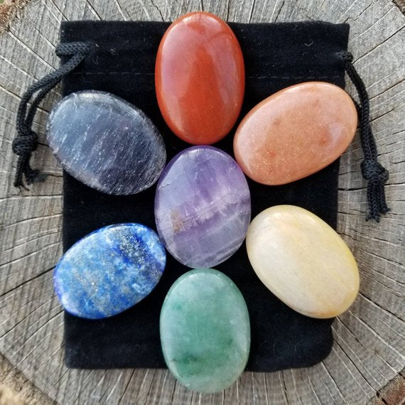 Oval Seven Chakra Set Without Symbol