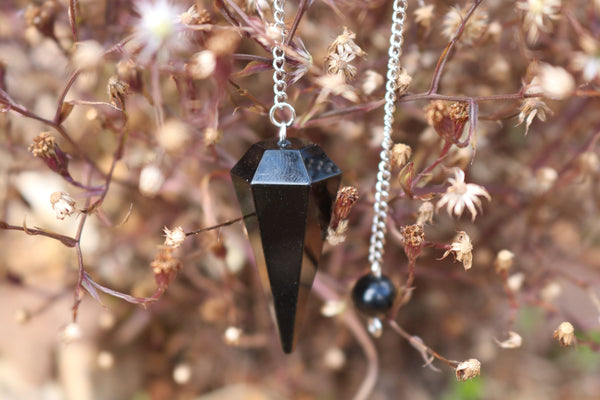 Black Tourmaline 6 Faceted Pendulum