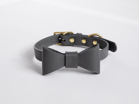 Stone gray leather collar with removable bow