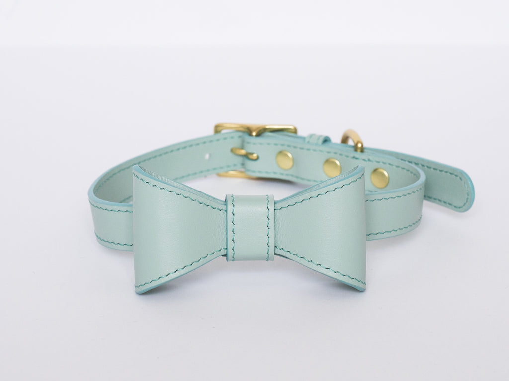 Mint leather collar with removable bow