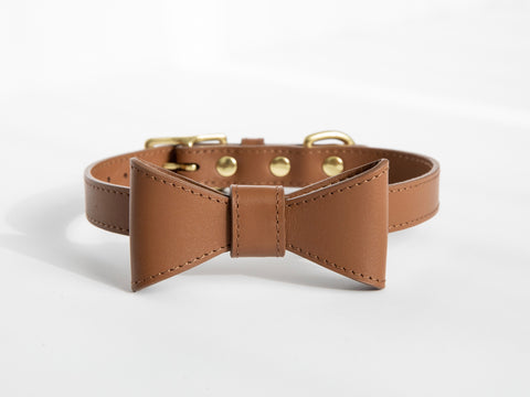 Saddle brown leather collar with removable bow