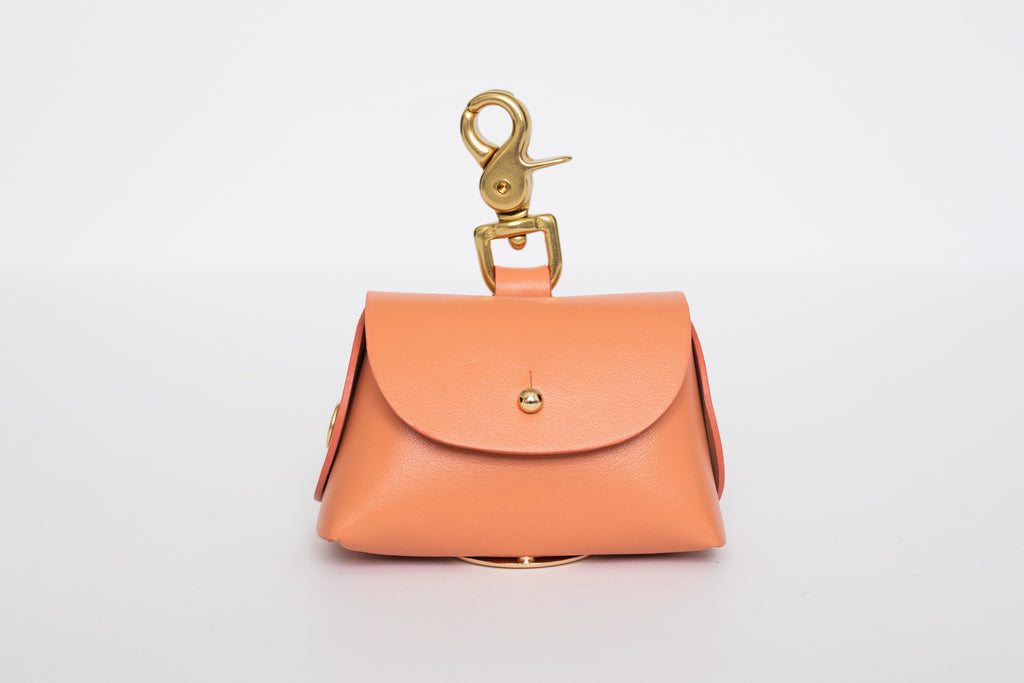 Peach leather poop bag pouch