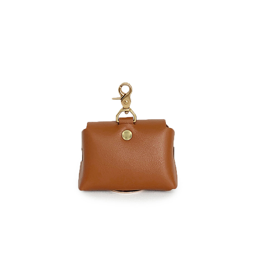 Saddle brown leather poop bag pouch
