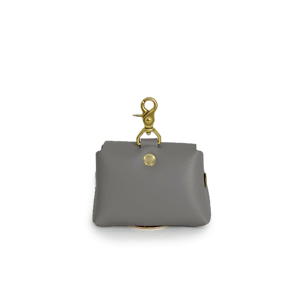 Stone grey leather poop bag pouch