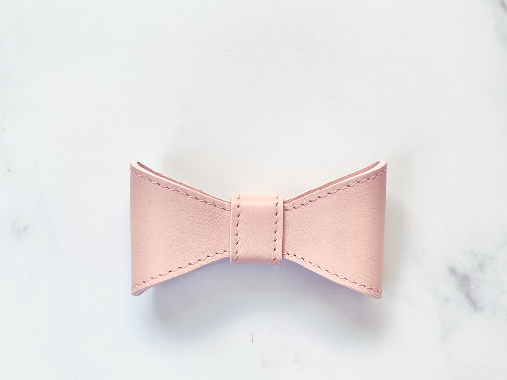 Blush pink leather bow