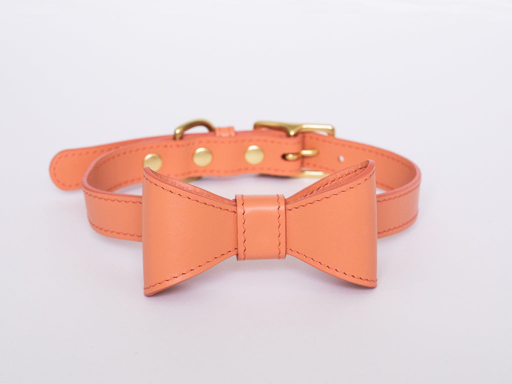 Peach leather collar with removable bow