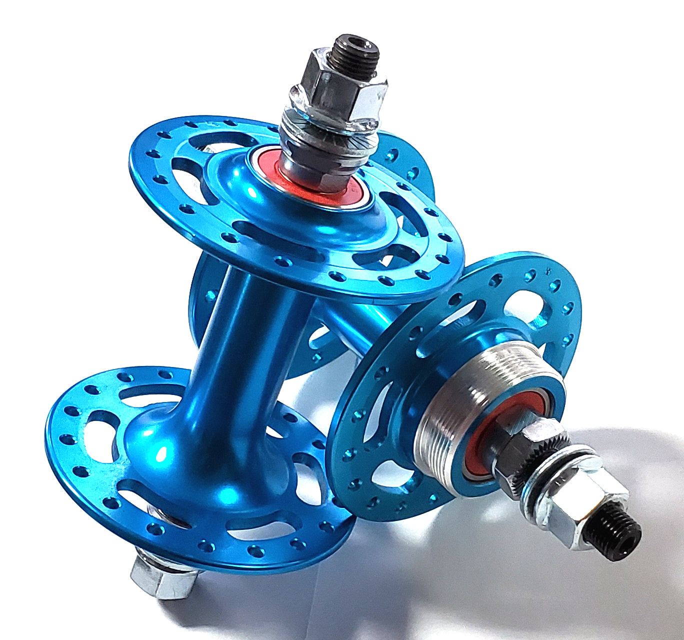 Retro Sealed High Flange w/ Cut-outs BMX Hubset - Blue - 36h 3/8""