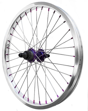"20"" Cinema ZX 333 Cassette Rear BMX Wheel - 36H - 14mm - RHD 9t - Polished/Purple"