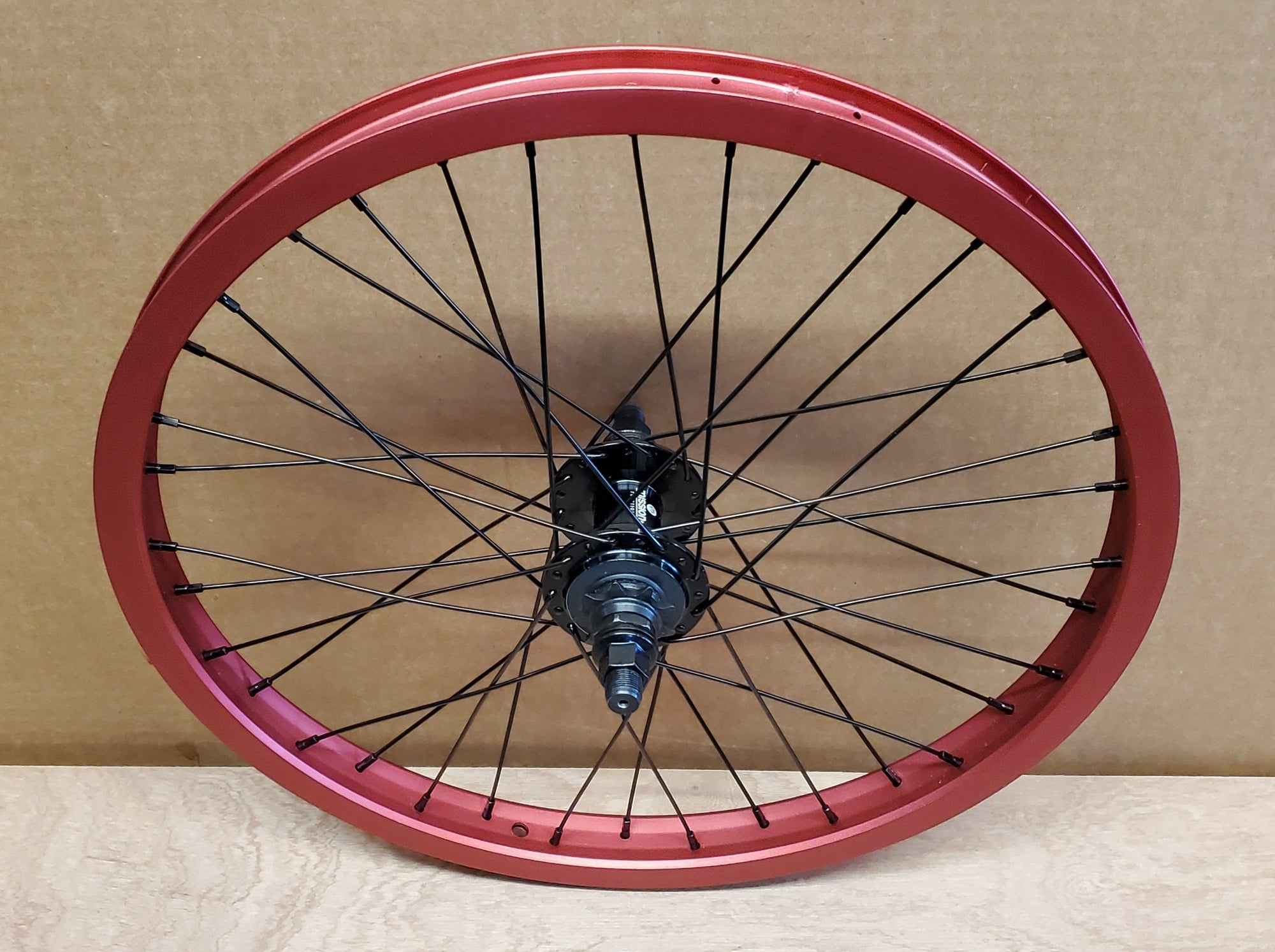 "20"" Cinema 777 / Mission Function Cassette BMX Rear Wheel - 36H - 14mm - RHD 9t - Red"