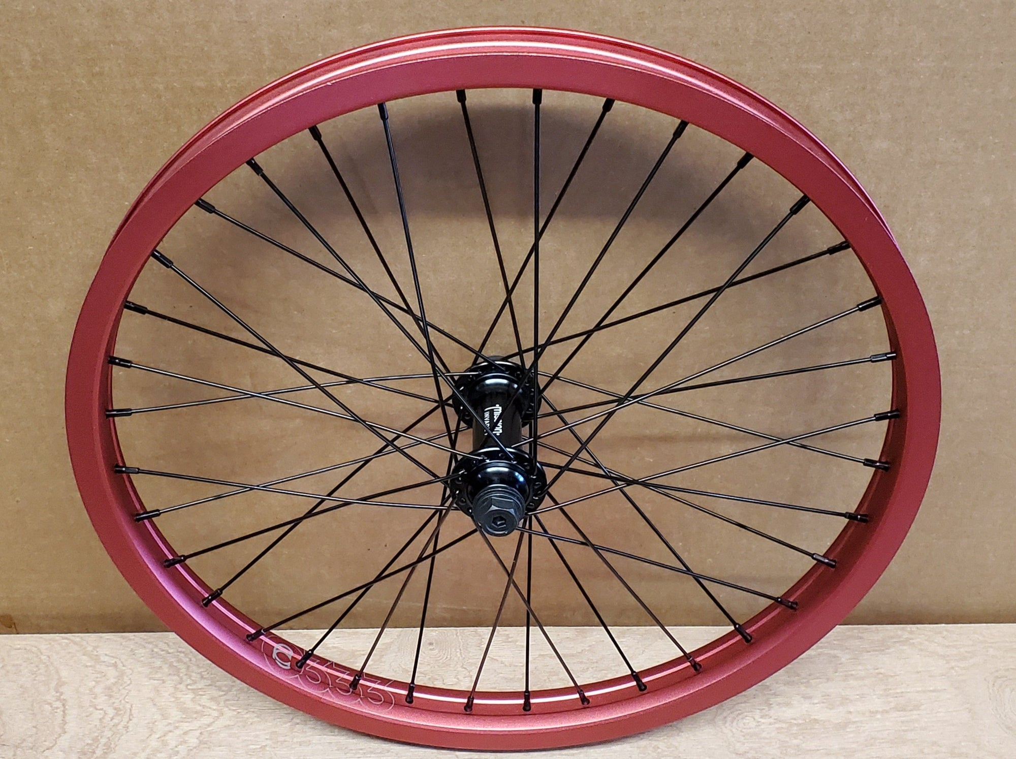"20"" Cinema 333 / Mission Invade Front BMX Wheel - 36H - 3/8"" Female - Red"