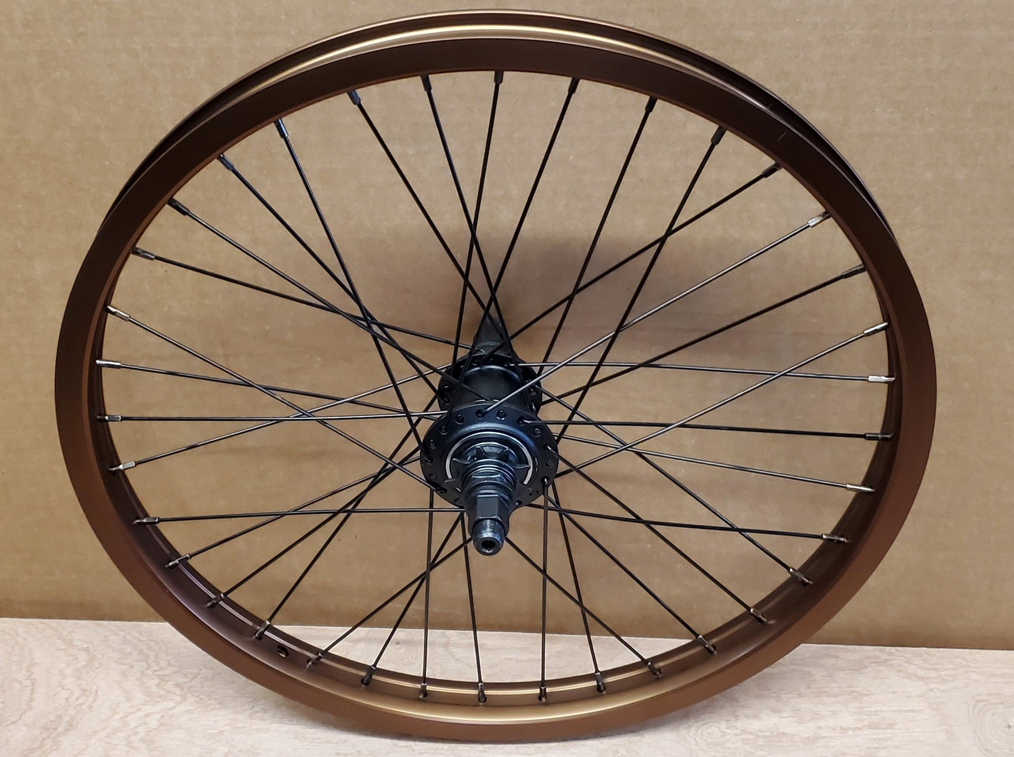 "20"" Cinema FX 333 Freecoaster Rear BMX Wheel - 36H - 14mm - LHD 9t - Brown Ano"