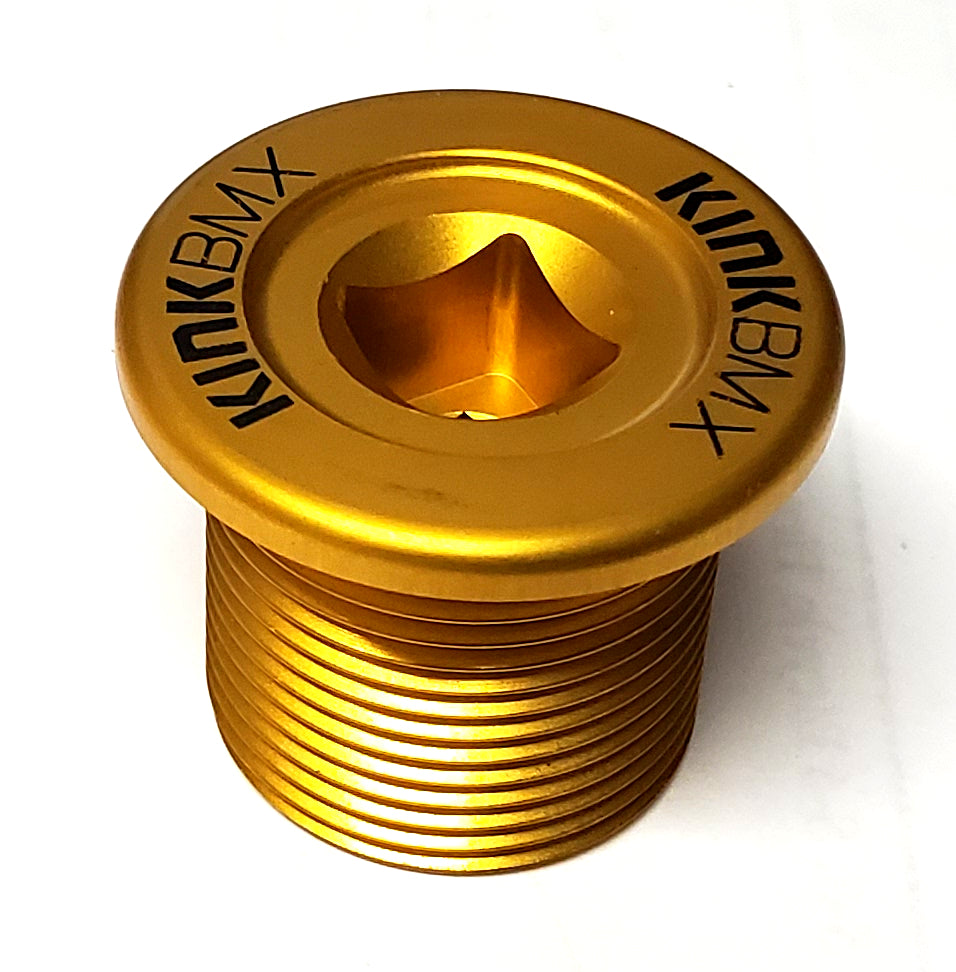 Kink BMX Alloy Top Cap - M24 x 1.5 Fork Compression Bolt - Gold / Black