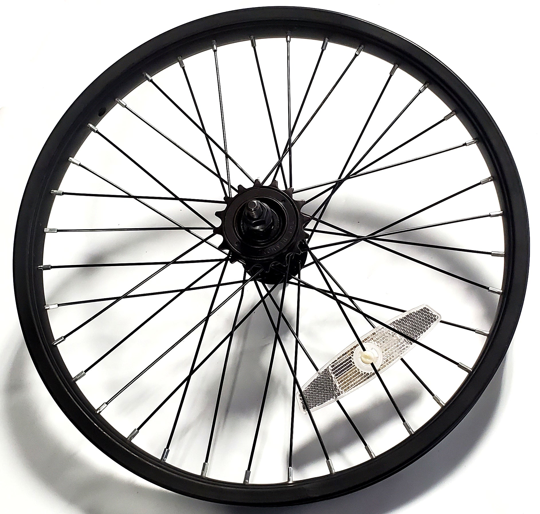 "18"" Steel BMX Rear Wheel - 36H - 3/8"" axle w/ 16t Freewheel - Kent Next Avigo OEM - Black"