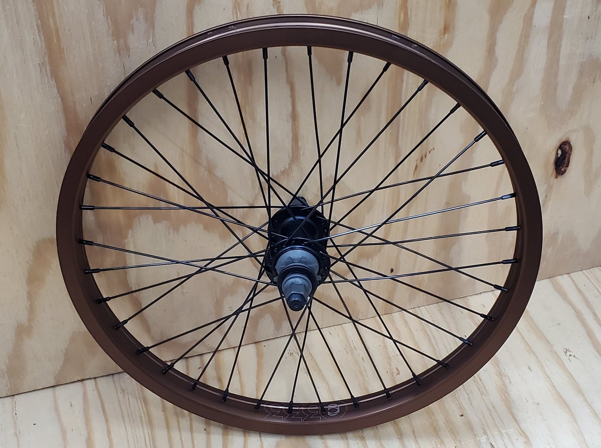 "20"" Cinema ZX 333 Cassette Rear BMX Wheel - 36H - 14mm - RHD 9t - Brown Ano"