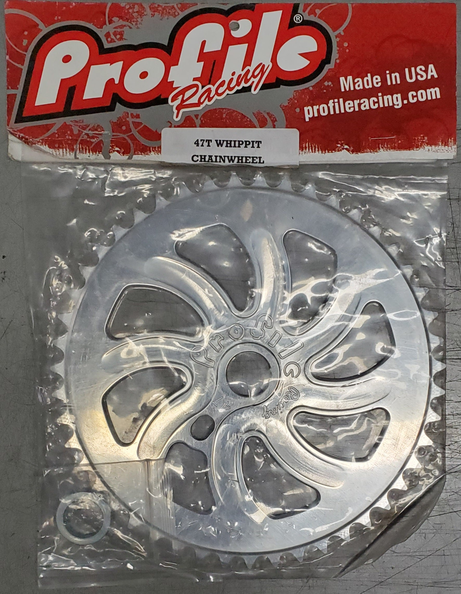 Profile 47t Whippit BMX Sprocket Chainwheel  - Silver - NOS - USA Made