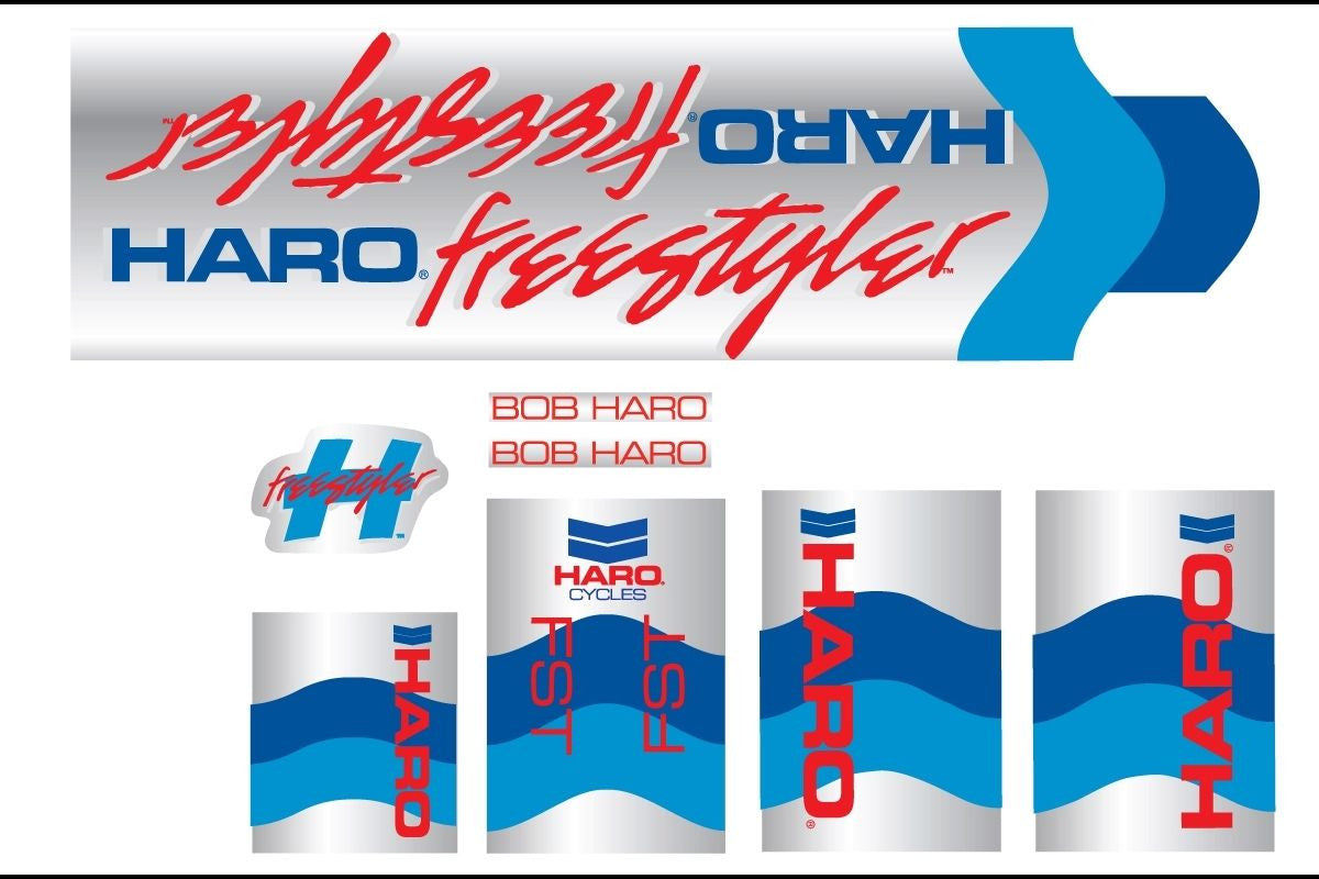 Haro 1985 FST BMX Decal Set for Frame + Fork - Chrome