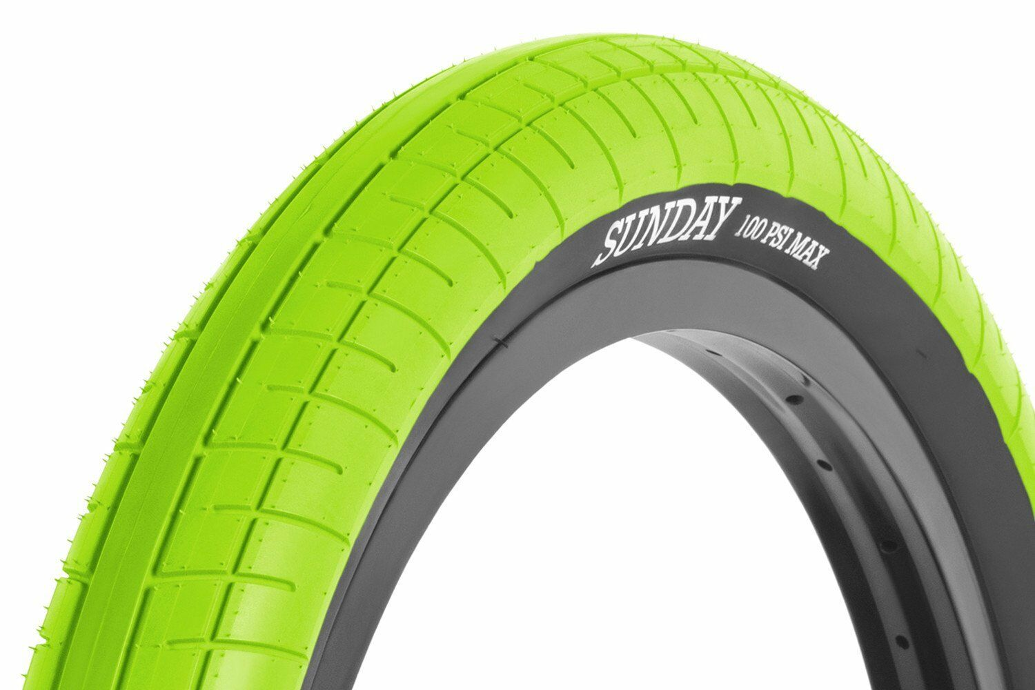 20x2.40 Sunday BMX Street Sweeper Tire - 100psi - Green w/ Black Sidewall