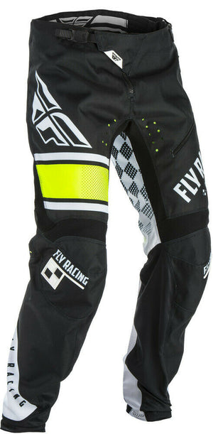 2018 Fly Kinetic Era BMX Race Pants - Sz 32 waist - Black/White/Hi-Vis