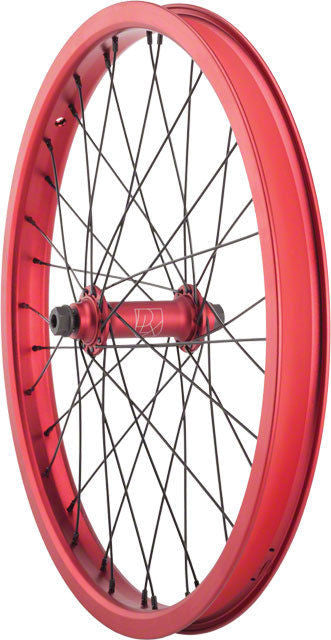 "20"" Deluxe M12 Double Wall Front BMX Wheel - 3/8"" Sealed Female V3 Hub - Red"